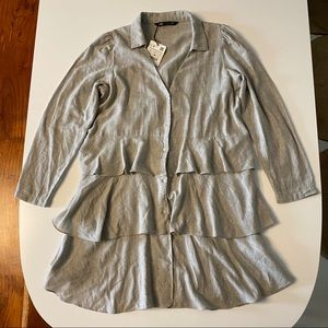 NWT Zara linen look shirt/dress in SZ L